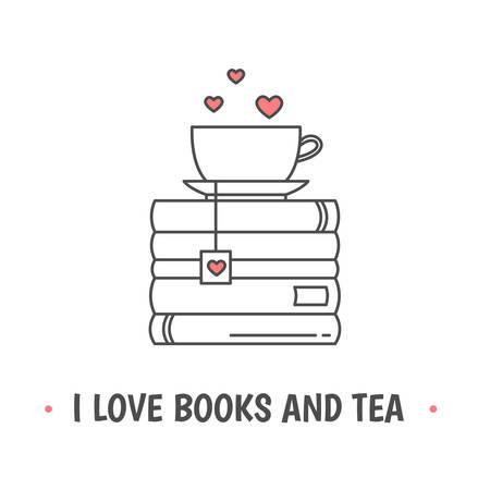 Pila de libros y una taza con símbolos de corazón. Cita «Me encantan los libros y el té». Me encanta leer el concepto. Icono de línea para bibliotecas, tiendas, festivales, ferias y escuelas. Ilustración vectorial.