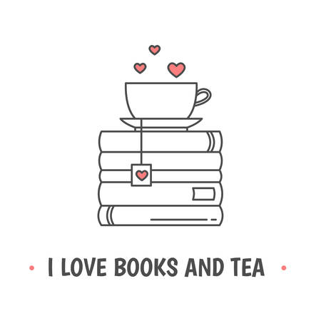Pile of books and a mug with heart symbols. Quote «I love books and tea». I love reading concept. Line icon for libraries, stores, festivals, fairs and schools. Vector illustration.