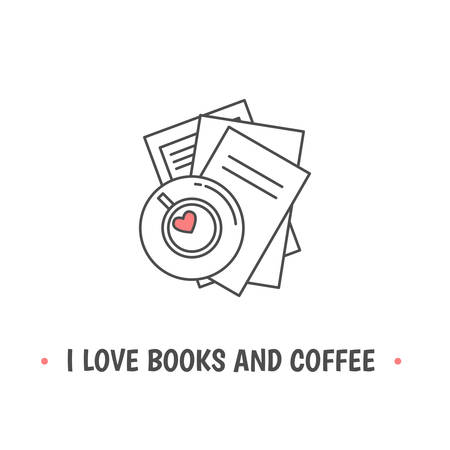 Pile of books and tea cup with heart symbols. Quote «I love books and coffee». I love reading concept. Line icon for libraries, stores, festivals, fairs and schools. Vector illustration.