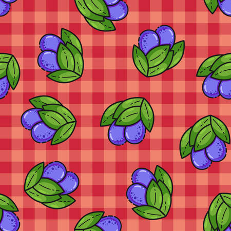 Seamless pattern with plum, cute flat line style. Background for food themed products: package, kitchen textile and accessories, menu, food markets etc.Vector illustration.