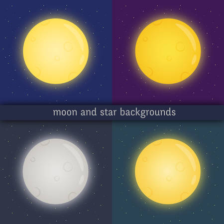 Full moon with glowing edges on dark sky with stars.  Kit of cliparts of various colours: yellow, blue, grey, orange with appropriate background.Vector illustration. Stok Fotoğraf - 104854017