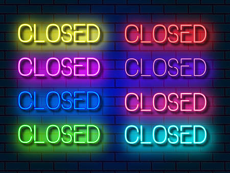 Set of neon closed inscriptions of various colours. Glowing letters with shining effect on dark brick background. Vector illustration isolated, neon electric lamp shapes in retro style.