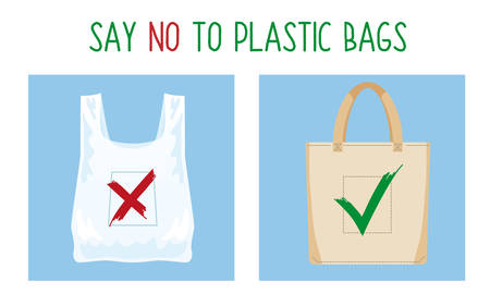 Pollution problem concept. Say no to plastic bag. Cartoon image of cellophane packet and textile bag with signage calling for stop using polythene package. Vector illustration. Illusztráció