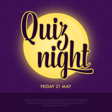 Quiz night announcement poster. Concept of night intellectual game. Full yellow moon shining on violet background, lettering inscription in front. Questions team game for smart people. Vector illustration. Illusztráció