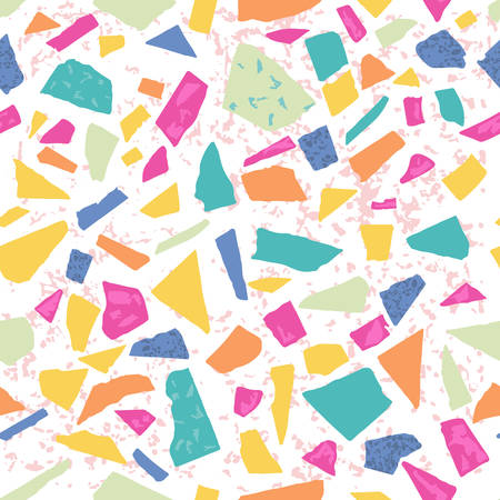 Terrazzo floor marble seamless hand crafted pattern. Traditional venetian material.Granite and quartz rocks and sprinkles mixed on polished surface.Abstract vector background with bright colors