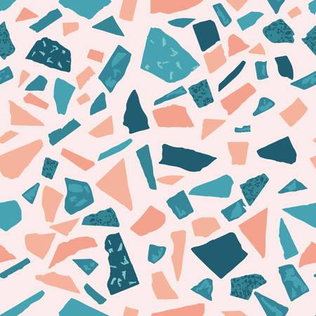 Suelo de terrazo de mármol sin fisuras patrón hecho a mano. Material veneciano tradicional.Rocas de granito y cuarzo y asperja mezclados en superficie pulida.Fondo de vector abstracto para diseños de arquitectura Ilustración de vector