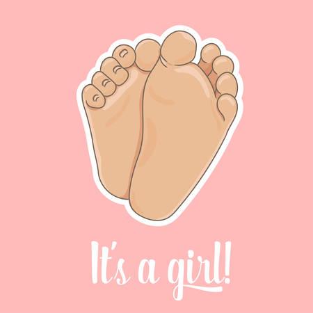 Es una ilustración de anuncio de niña. Suelas del pie del bebé recién nacido, descalzo, vista inferior. Ilustración de vector, estilo de dibujos animados. Pequeños pies regordetes con lindos talones y dedos de los pies, aislados sobre fondo rosa.