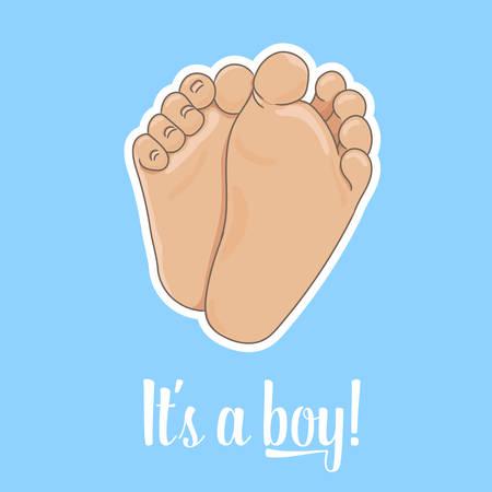 Es una ilustración de anuncio de niño. Suelas del pie del bebé recién nacido, descalzo, vista inferior. Ilustración de vector, estilo de dibujos animados. Diminutos pies regordetes con lindos talones y dedos de los pies, aislados sobre fondo azul.