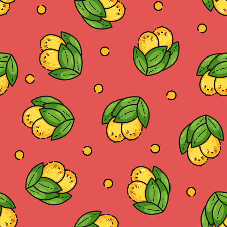 Seamless pattern with kawaii lemons, cute flat line style. Background for food themed products: package, kitchen textile and accessories, menu, food markets etc.Vector illustration.