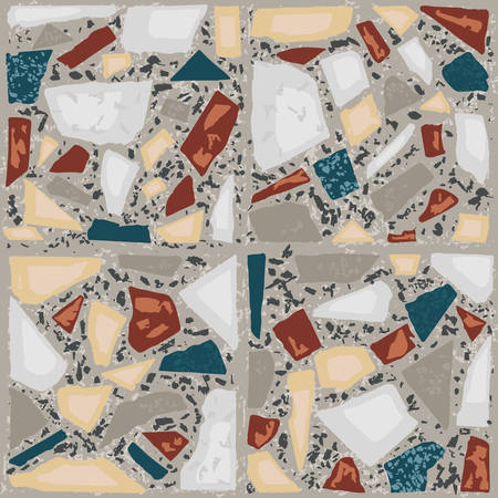 Terrazzo floor marble hand crafted tile. Traditional venetian material.Granite and quartz rocks and sprinkles mixed on polished surface. Vector element for architecture designs Illusztráció