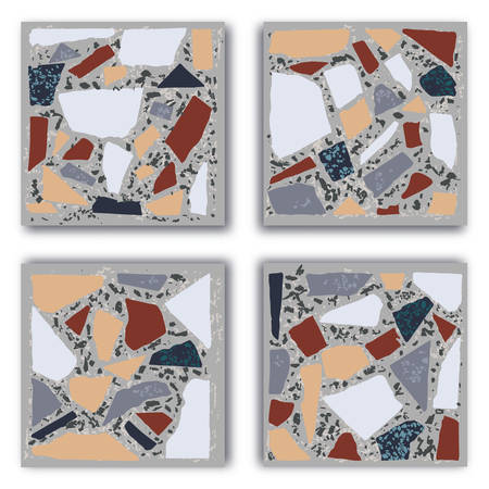 Terrazzo floor marble hand crafted tile. Traditional venetian material.Granite and quartz rocks and sprinkles mixed on polished surface. Vector element for architecture designs Çizim