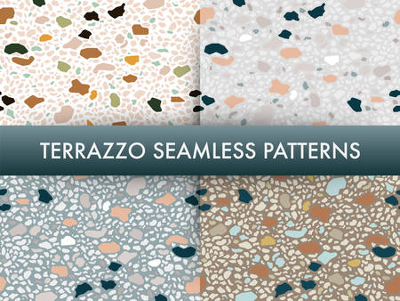 Terrazzo floor marble seamless pattern set.Traditional venetian material.Granite and quartz rocks and sprinkles mixed on polished surface.Abstract vector background for architecture designs