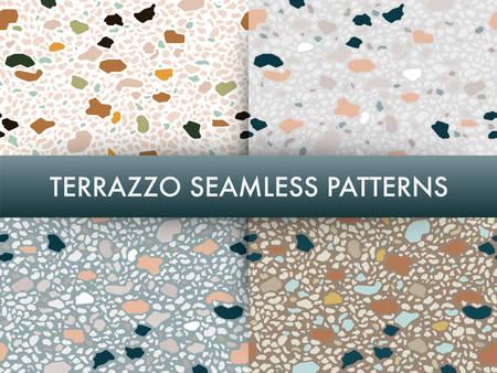 Terrazzo, plancher, marbre, seamless, modèle, ensemble., Traditionnel, vénitien, material., Granit, et, quartz, roches, et, arrose, mélangé, sur, poli, surface.