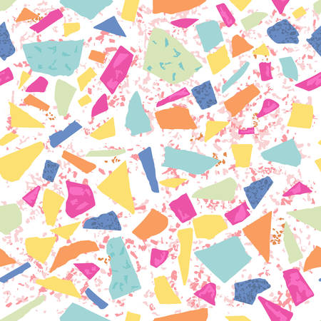 Terrazzo floor marble seamless hand crafted pattern. Traditional venetian material.Granite and quartz rocks and sprinkles mixed on polished surface.Abstract vector background in bright colors