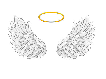 A pair of wide spread angel wings with golden halo or nimbus. Grey and white feathers. Contour drawing in modern line style with volume. Vector illustration isolated on white. Çizim