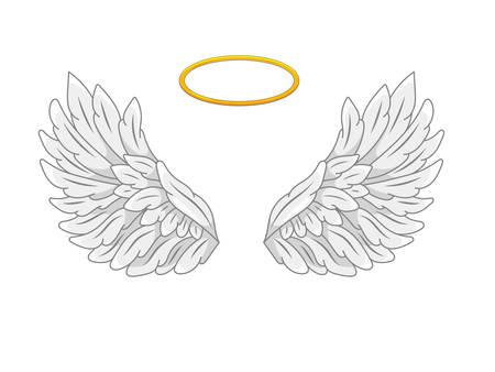 Une paire d'ailes d'ange largement déployées avec halo doré ou nimbus. Plumes grises et blanches. Dessin de contour dans un style de ligne moderne avec volume. Illustration vectorielle isolée sur blanc.
