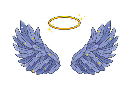 A pair of wide spread angel wings with golden halo or nimbus. Deep violet feathers with sparkling stars. Magic fantasy concept. Vector illustration isolated on white.