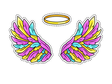 Magic wings sticker in 80s-90s youth pop art comics style. Wide spread angel wings and halo. Retro fashionable patch element inspired by old cartoons. Vector illustration isolated on white.