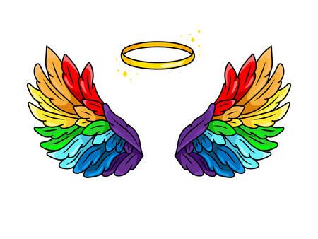 Alas mágicas de los colores del arco iris en estilo cómic pop art juvenil de los 80-90. Alas de ángel y halo muy extendidas. Elemento de parche de moda retro inspirado en dibujos animados antiguos. Ilustración de vector aislado en blanco.