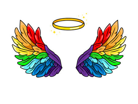 Magic rainbow-colored wings in 80s-90s youth pop art comics style. Wide spread angel wings and halo. Retro fashionable patch element inspired by old cartoons. Vector illustration isolated on white.