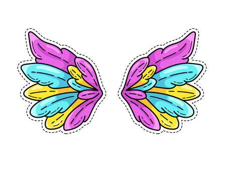 Pegatina de alas mágicas en estilo cómic pop art juvenil de los años 80-90. Alas de ángel muy extendidas. Elemento de parche de moda retro inspirado en dibujos animados antiguos. Ilustración de vector aislado en blanco.