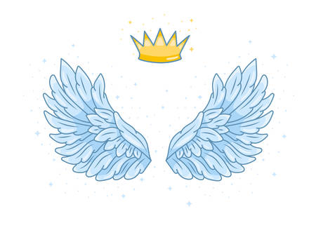 A pair of wide spread blue angel wings with golden crown above. Little prince or princess concept. Contour drawing in modern line style with volume. Vector illustration isolated on white. Illustration