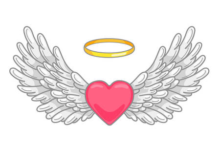A pair of wide spread angel wings with golden halo or nimbus and red heart in the middle. Grey and white feathers. Love and Valentine day symbol. Vector illustration isolated on white. 向量圖像