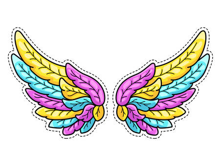 Magic wings sticker in 80s-90s youth pop art comics style. Wide spread angel wings. Retro fashionable patch element inspired by old cartoons. Vector illustration isolated on white. Çizim