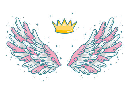 A pair of wide spread pink, grey and white angel wings with golden crown above. Little prince or princess concept. Contour drawing in modern line style with volume. Vector illustration isolated