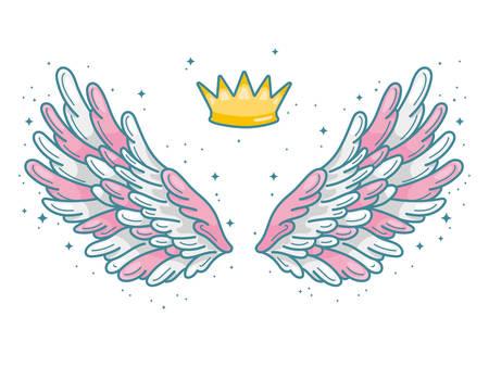 Ein Paar weit verbreiteter rosa, grauer und weißer Engelsflügel mit goldener Krone darüber. Konzept des kleinen Prinzen oder der Prinzessin. Konturzeichnung im modernen Linienstil mit Volumen. Vektorabbildung isoliert Vektorgrafik