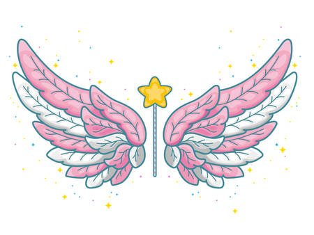 Magic wings in cute little princess style, pink and grey palette. Wide spread angel wings and magic wand with star dust. Vector illustration isolated on white. Illusztráció