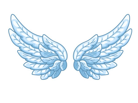 Un par de alas de ángel con plumas azul cielo, muy extendidas. Dibujo de contorno en estilo de línea moderna con volumen. Ilustración de vector aislado en blanco. Ilustración de vector