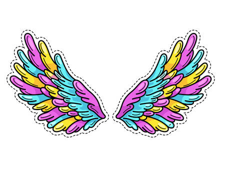 Magic wings sticker in 80s-90s youth pop art comics style. Wide spread angel wings. Retro fashionable patch element inspired by old cartoons. Vector illustration isolated on white. Illusztráció