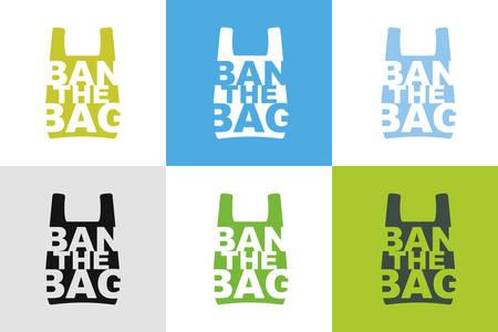 Prohibir la colección de diseño de eslogan de bolso de diferentes combinaciones de colores. No se permite el concepto de bolsa de plástico. Señal de prohibición de paquete de celofán y polietileno para tiendas y tiendas.Ilustración de vector aislado
