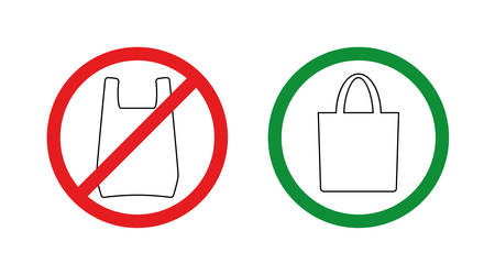 Pollution problem concept.No plastic bags allowed, use textile or paper sac.Prohibiting and allowing red and green signs.Simple pictograms for stores and shops.Vector illustration isolated on white