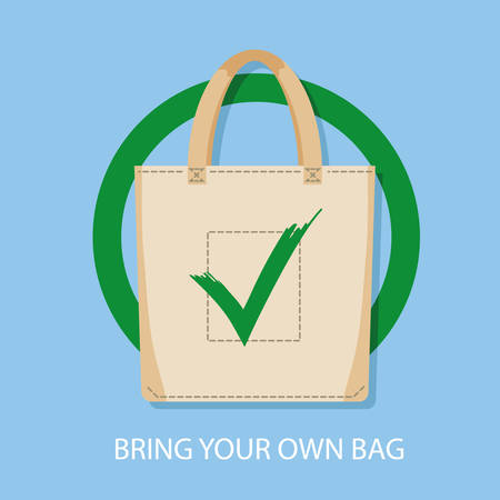 Poster sign encouraging to bring reusable bags for shopping instead of bying disposable package. Pollution problem concept. No plastic packets allowed, use textile or paper sac. Vector illustration Illustration