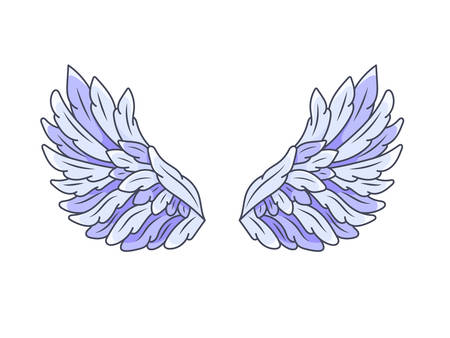 A pair of angel wings with blue and violet feathers, wide spread. Contour drawing in modern line style with volume. Vector illustration isolated on white.
