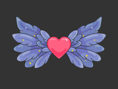 A pair of wide spread angel wings with red heart in the middle. Deep violet feathers with sparkling stars on dark background. Love and Valentine day symbol. Vector illustration. Çizim