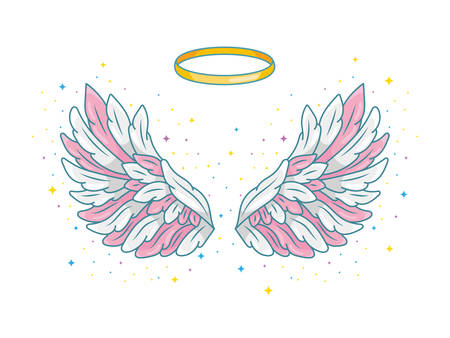 A pair of wide spread angel wings with golden halo or nimbus. Pink, grey and white feathers with sparkling stars. Magic fantasy concept. Vector illustration isolated on white. Vettoriali