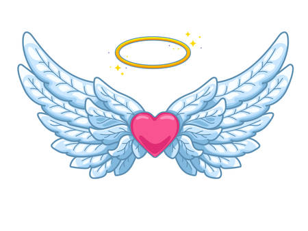 A pair of wide spread angel wings with golden halo or nimbus and red heart in the middle. Blue and white feathers. Love and Valentine day symbol. Vector illustration isolated on white.