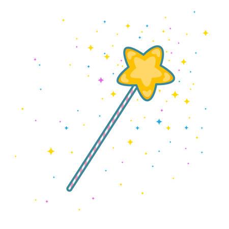 Varita mágica con estrella de oro amarillo en la punta. Estilo de icono plano moderno con contorno. Ilustración vectorial aislado en blanco