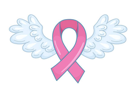 Pink ribbon with spread angel wings as a symbol of hope and support. Breast cancer awareness month illustration. Vector isolated on white Illustration