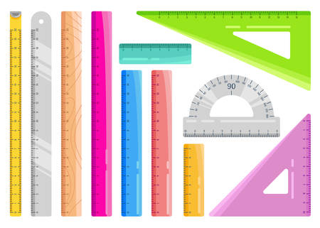 Set of colourful rulers. Art design measurement office supplies and school stationery. Vector illustration isolated on white.