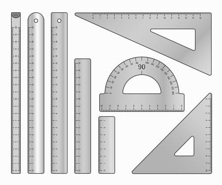 Set of metal rulers. Art design measurement office supplies and school stationery. Vector illustration isolated on white. Ilustração
