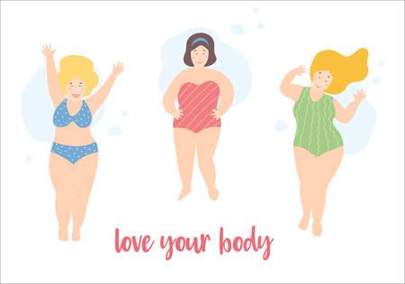 Felices niñas sonrientes de talla grande con trajes de baño y bikini, posturas activas. Cita de feminismo positivo corporal. Pinup playa mujeres. Ilustración de vector, estilo plano de dibujos animados lindo. Ilustración de vector