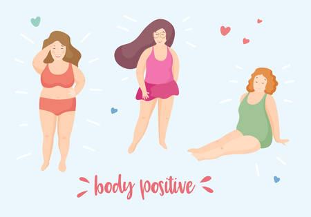 Felices niñas sonrientes de talla grande con trajes de baño y bikini, posturas activas. Mujeres en la playa de pie y sentado. Cita de feminismo positivo corporal. Ilustración de vector, estilo plano de dibujos animados lindo. Ilustración de vector