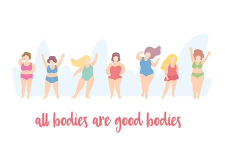 Set of body positive woman characters.Love yourself concept.Happy active girls wearing bikini or swimming suits, standing, sitting, jumping.Cute cartoon simple minimal flat style.Vector illustration Illustration