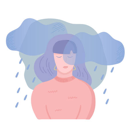 Sad unhappy girl. Depression, apathy and bad mood concept. Dark clouds and rain above the woman head. Vector illustration, cartoon flat style. Illustration