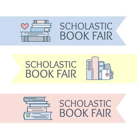 Logotipo de la feria del libro Scholastic. Emblema para el evento de la biblioteca escolar: festival, mercado, club de amantes del libro. Pila de folio con el símbolo del corazón y una taza de café o té. Ilustración de vector, estilo de línea plana.