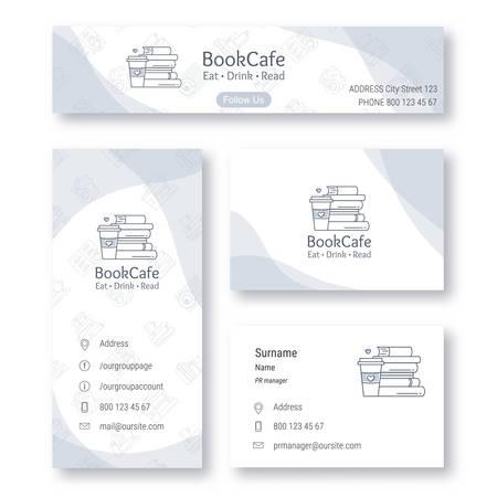 Ensemble d'éléments d'identité visuelle de librairie et de café, élément de logo inclus. Carte de visite, bannière de médias sociaux, dépliant. Illustration vectorielle. Style de ligne plate.